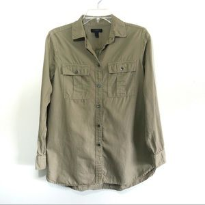 J crew fatigue army green button front top